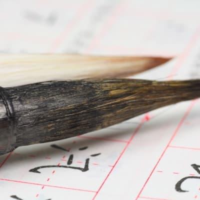 Calligraphie dans les jardins de la pagode de l'Oie Sauvage